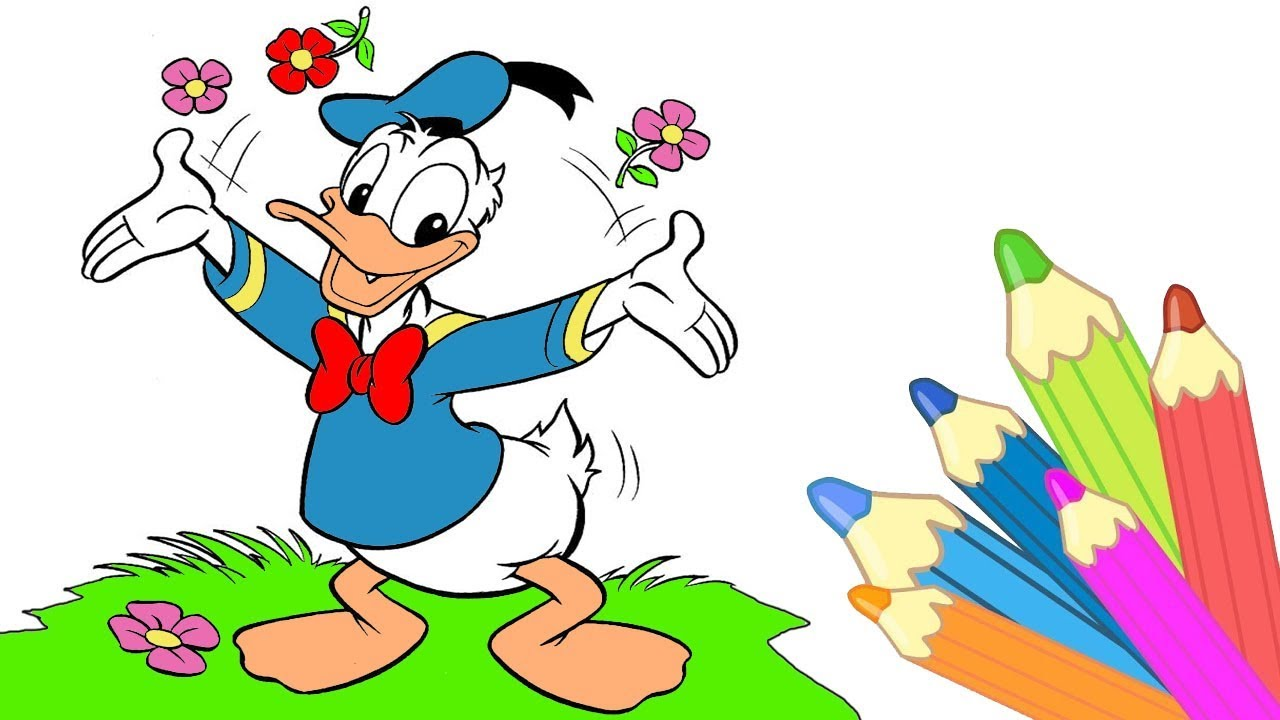 Donald Duck Coloring Pages - Disney Coloring Book for Kids How to ...