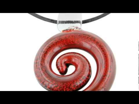 Red Spiral Murano Glass Pendant On 23 Inch Black Leather Cord Necklace - SuperJeweler.com
