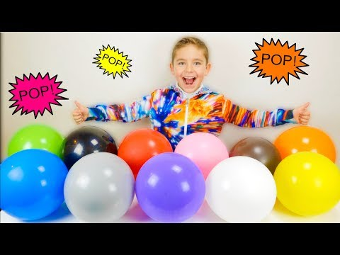 BALLOON POP CHALLENGE ! Learn Colors with Balloons Surprise Toys