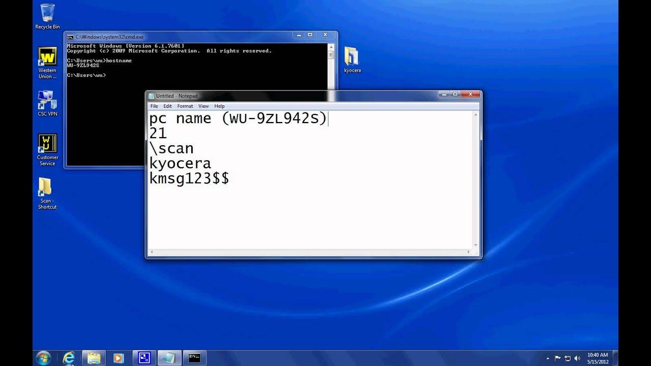 Kyocera Scan to FTP setup