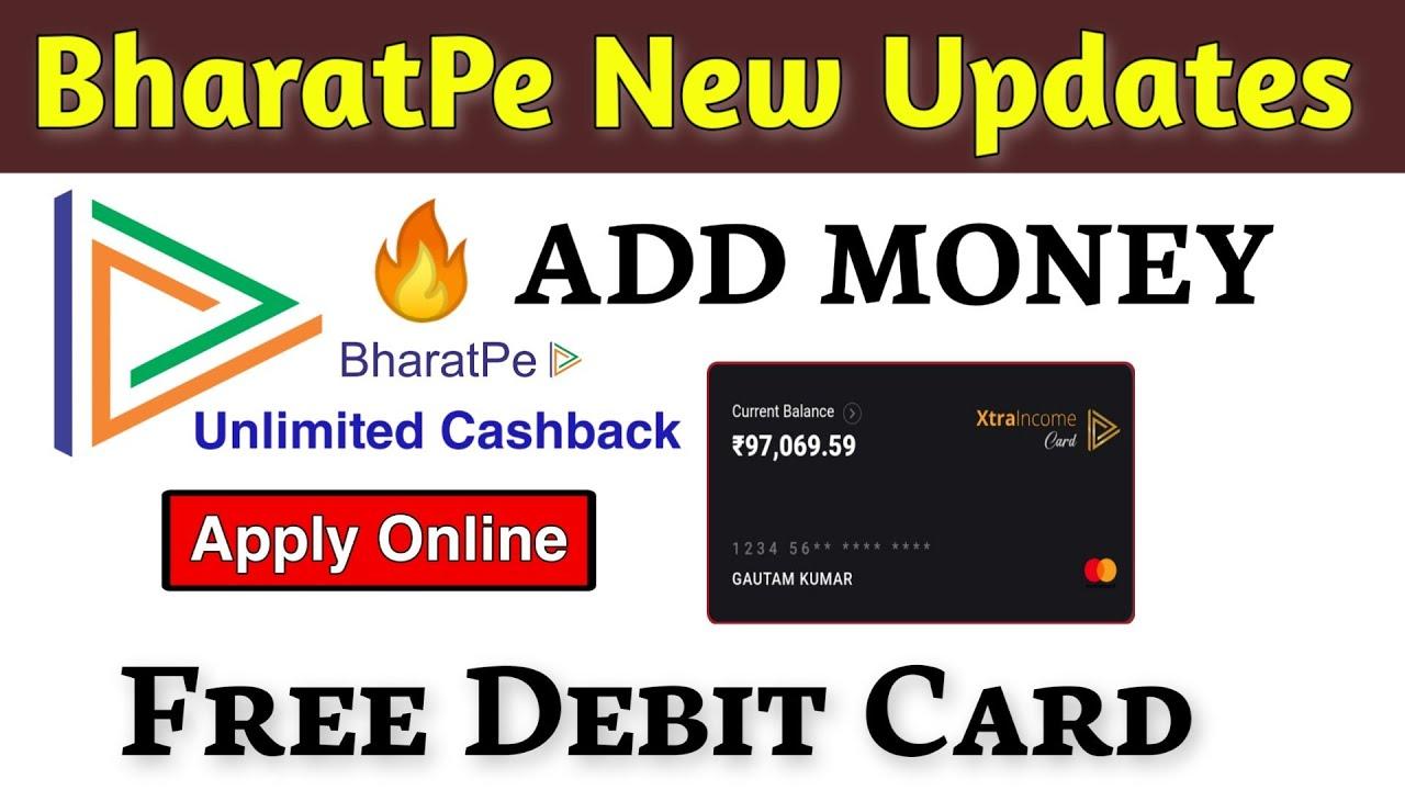 bharatpe add money  free debit card apply online