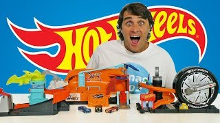 Hot Wheels City Skate Park- Tire Shop- Dinosaur Attack Playsets ! || Toy Review || Konas2002