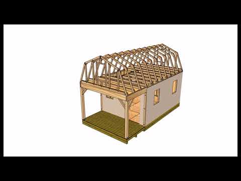 12x22 small cabin plans with loft and Porch
