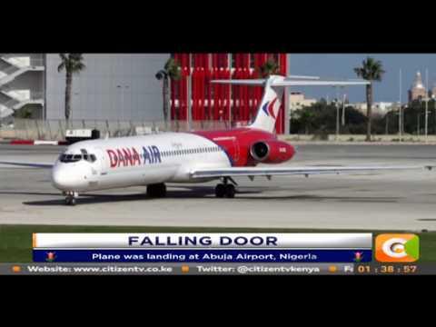 Panic as plane emergency door falls