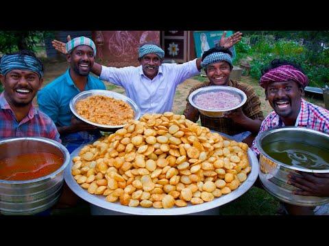 1000 PANI PURI | Golgappa Recipe Cooking in South Indian Village | How to make Pani Puri Recipe