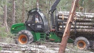 форвардер Амкодор 2661-01 в работе. Сбор и перевозка леса. Лес в Беларуси