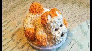 """Торт """"Собачка"""" / 3D Торт / Dog Cake / Праздничный Торт / Торт из Крема / Пошаговый Рецепт"""