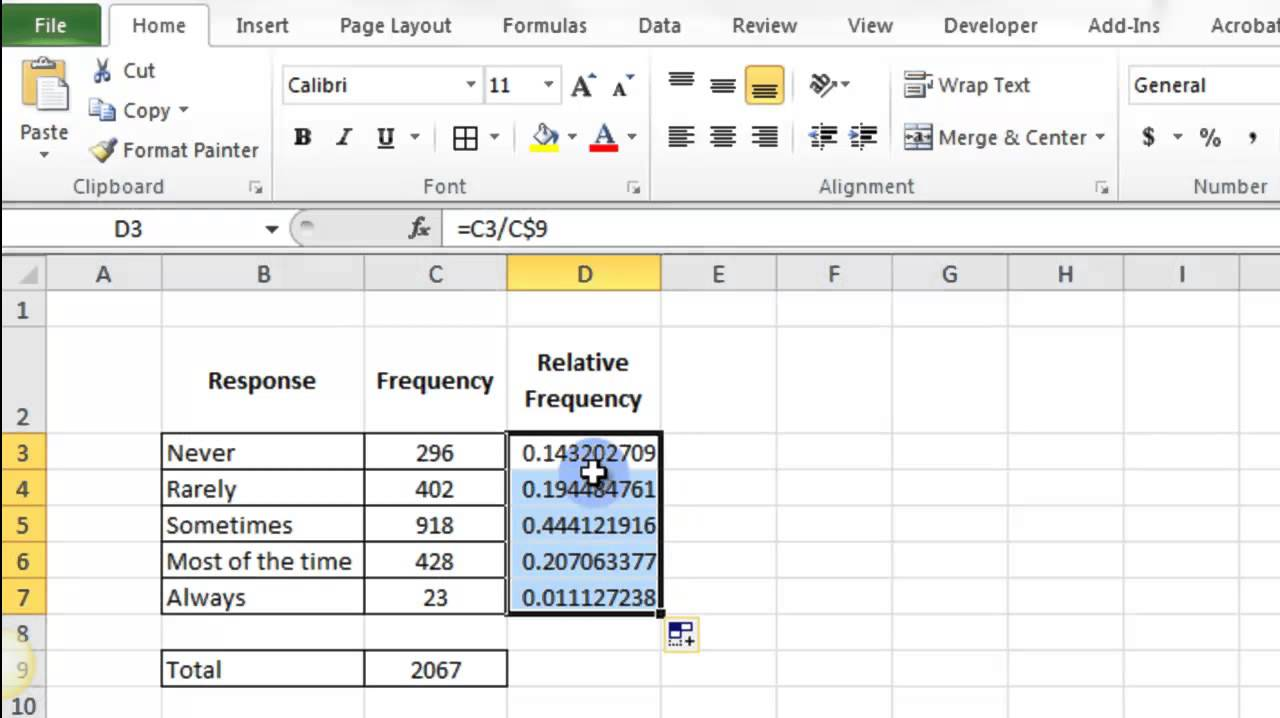Relative Frequency in Excel 2010 - YouTube