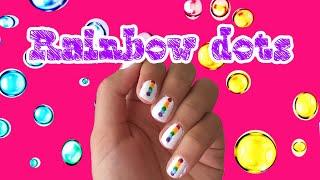 Rainbow dots nail art tutorial