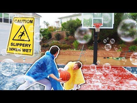 SLIP N SLIDE! RAINY BASKETBALL NBA COURT CHALLENGE (ANKLE BREAKER)