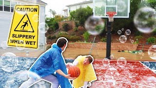 SLIP N SLIDE! RAINY BASKETBALL NBA COURT CHALLENGE (ANKLE BREAKER)