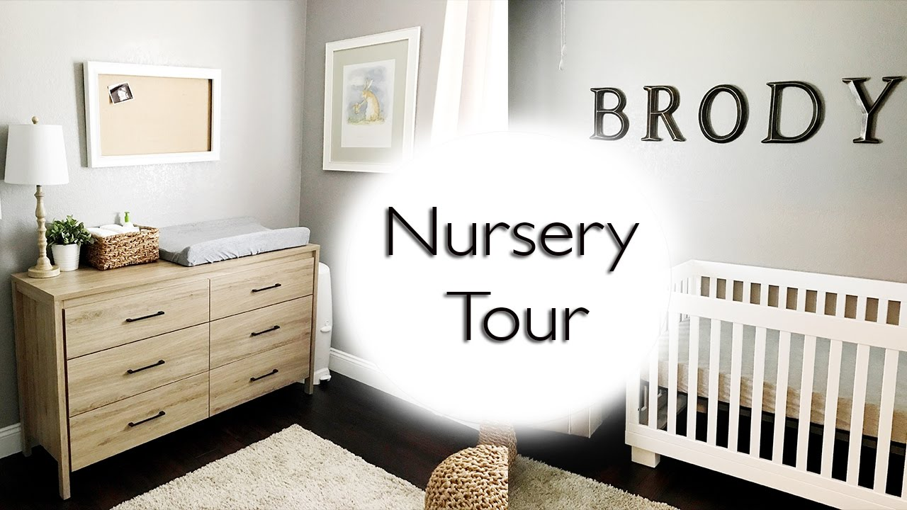 Baby Boy Nursery Tour: Neutral Baby Boy Nursery - YouTube