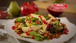 Pear pomegranate and blue cheese salad with candied walnuts