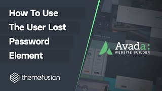 How To Use The User Lost Password Element