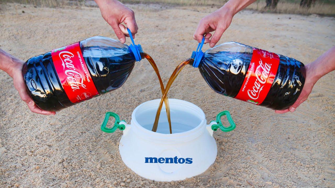 Experiment: Coca Cola and Mentos and Baking Soda! Super Effect!