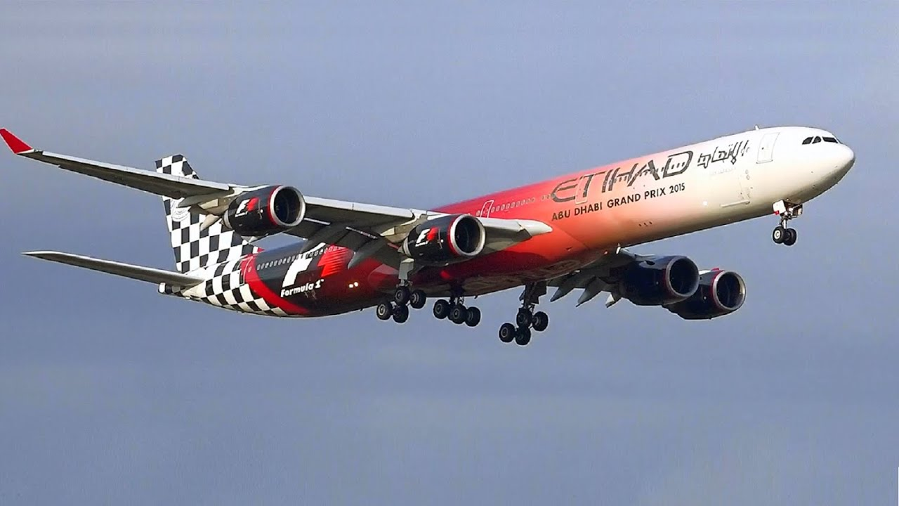 Formula 1 Livery - Etihad Airways A340-642 - Landing at Melbourne Airport [A6-EHJ] - YouTube