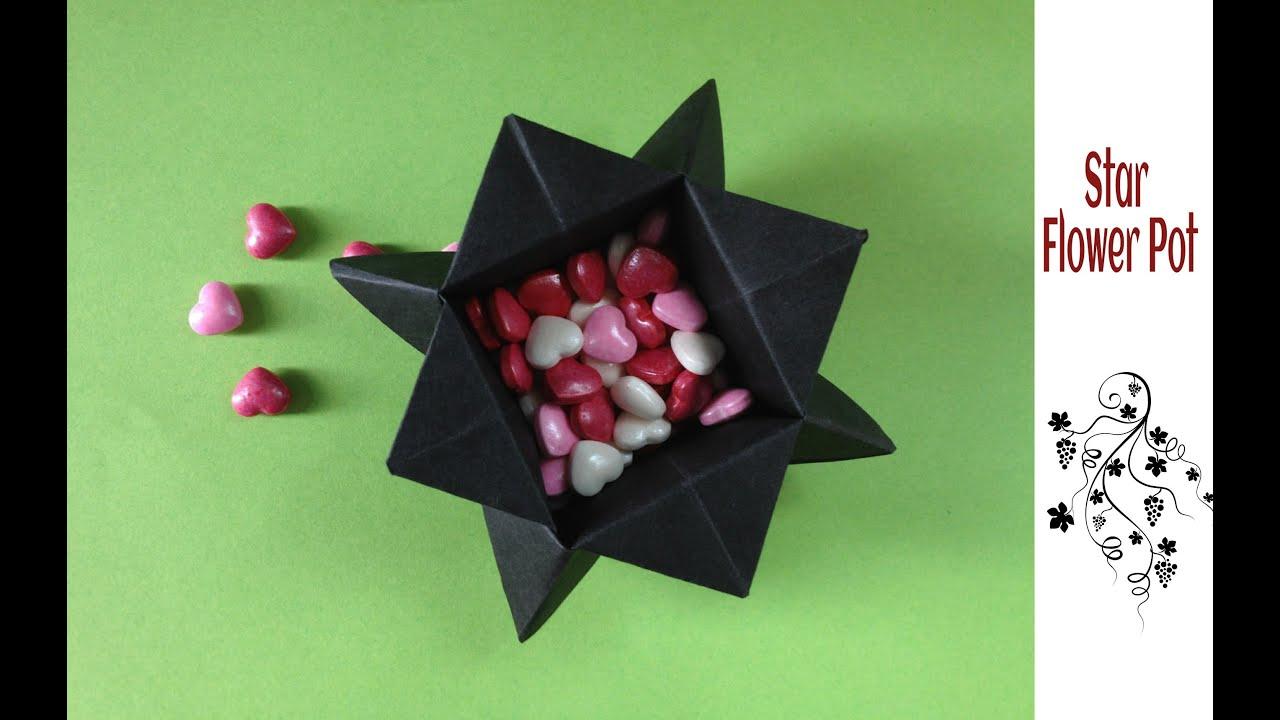 Origami Paper Star Flower Pot Home Decor Youtube
