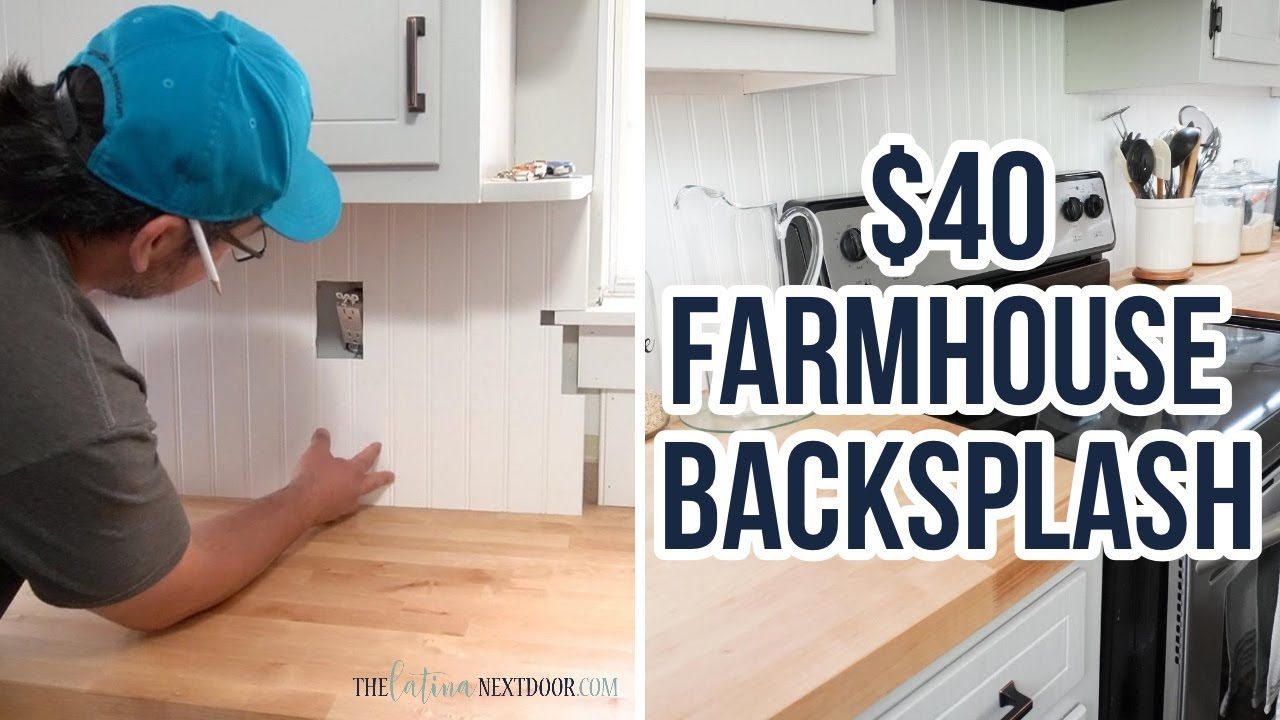How To Install Beadboard Backsplash Cheap Farmhouse Kitchen Diy Youtube