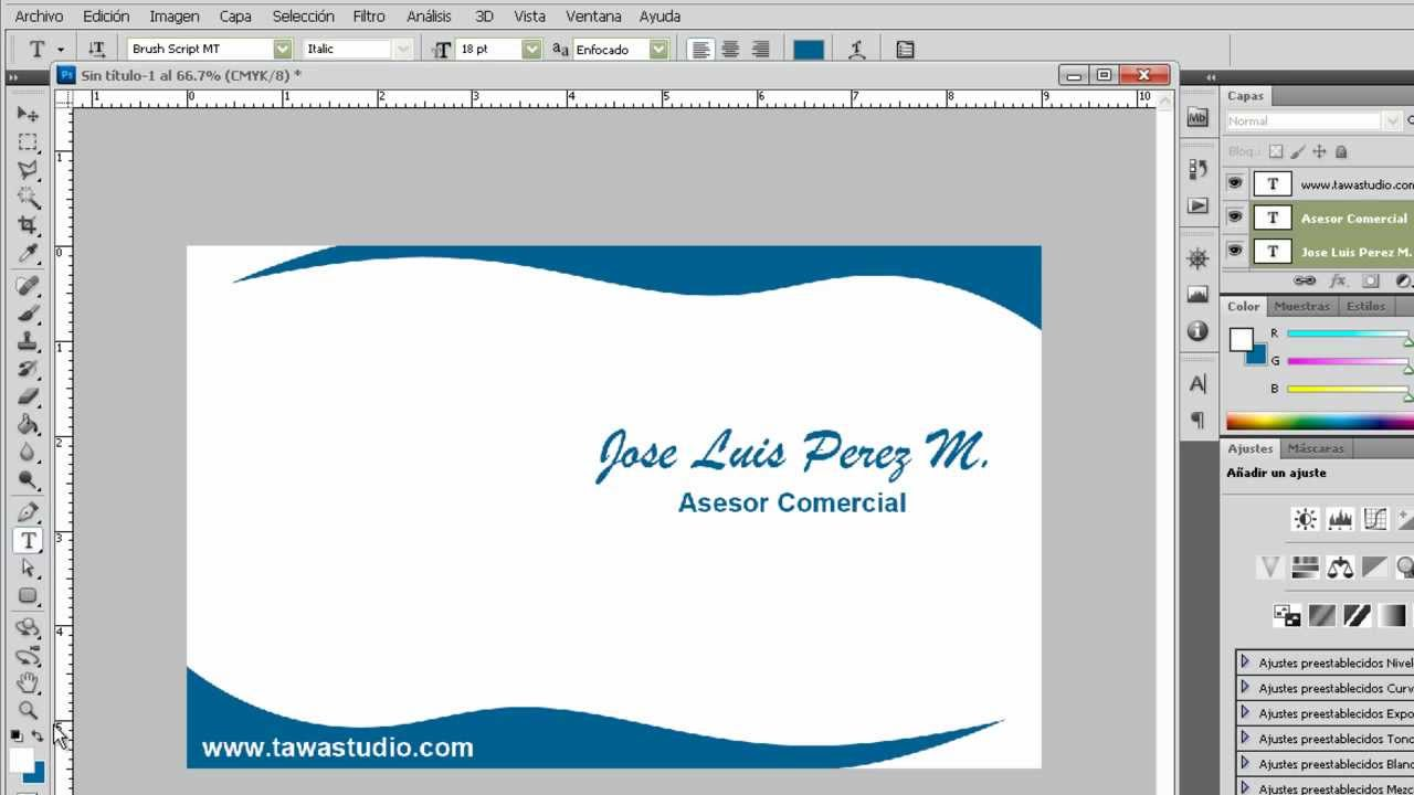 Crear Tarjeta Personal en Photoshop Cs5 - YouTube