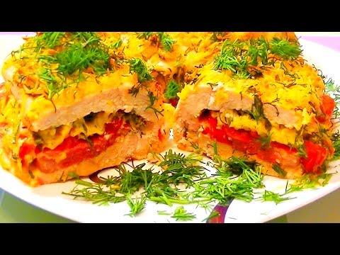 Куриные кармашки с бужениной, помидорами в сыре