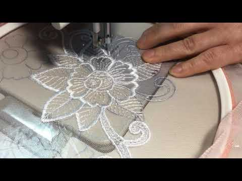 Машинная вышивка на сетке мастер класс