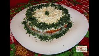 Слоёный салат с консервированным тунцом