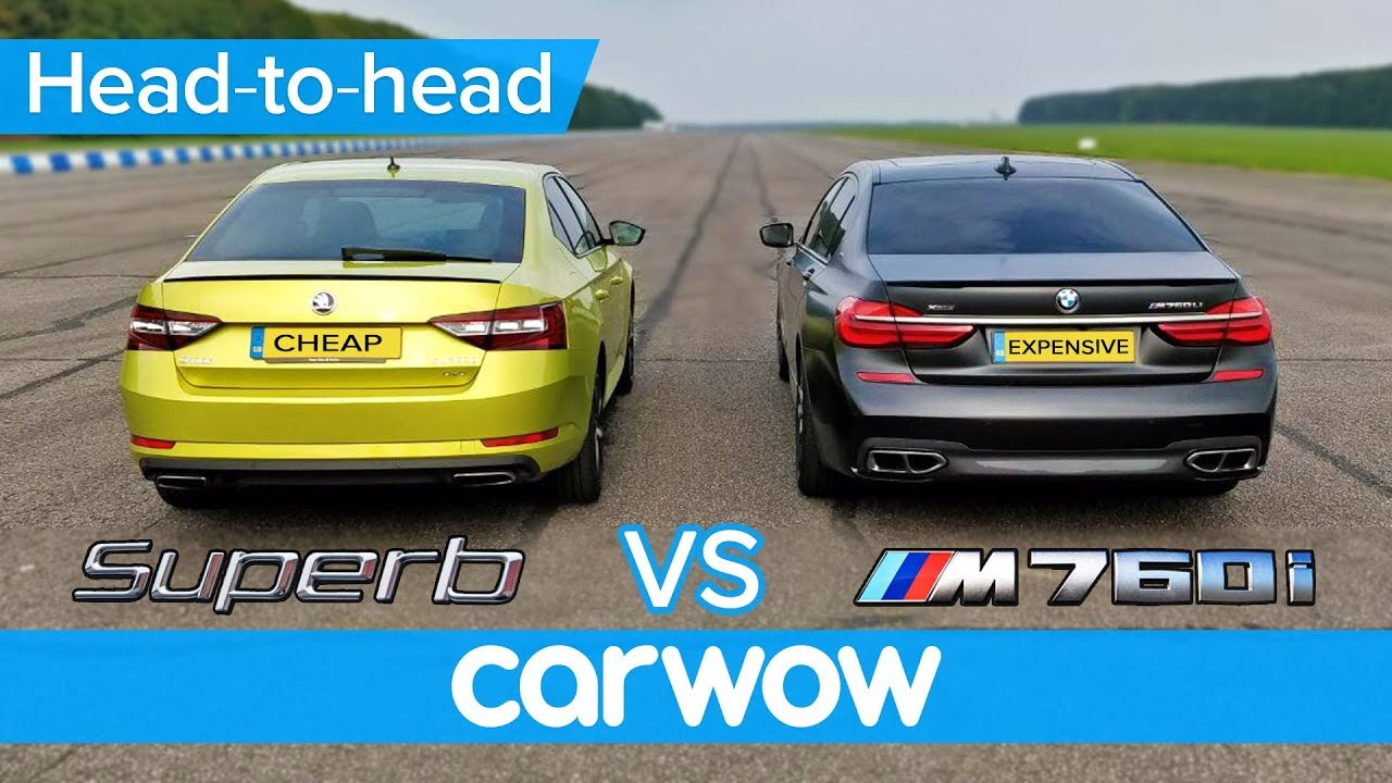 BMW M760Li vs Skoda Superb 280 DRAG RACE, OVERTAKE, BRAKE & LUXURY challenge | Expensive vs Chea