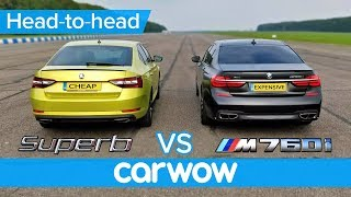 BMW M760Li vs Skoda Superb 280 DRAG RACE, OVERTAKE, BRAKE & LUXURY challenge | Expensive vs Cheap
