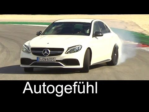 All-new 2016 Mercedes-AMG C63 & C63S racetrack driving, exte