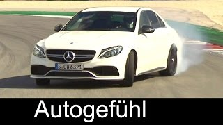 All-new 2016 Mercedes-AMG C63 & C63S racetrack driving, exterior, interior & colours