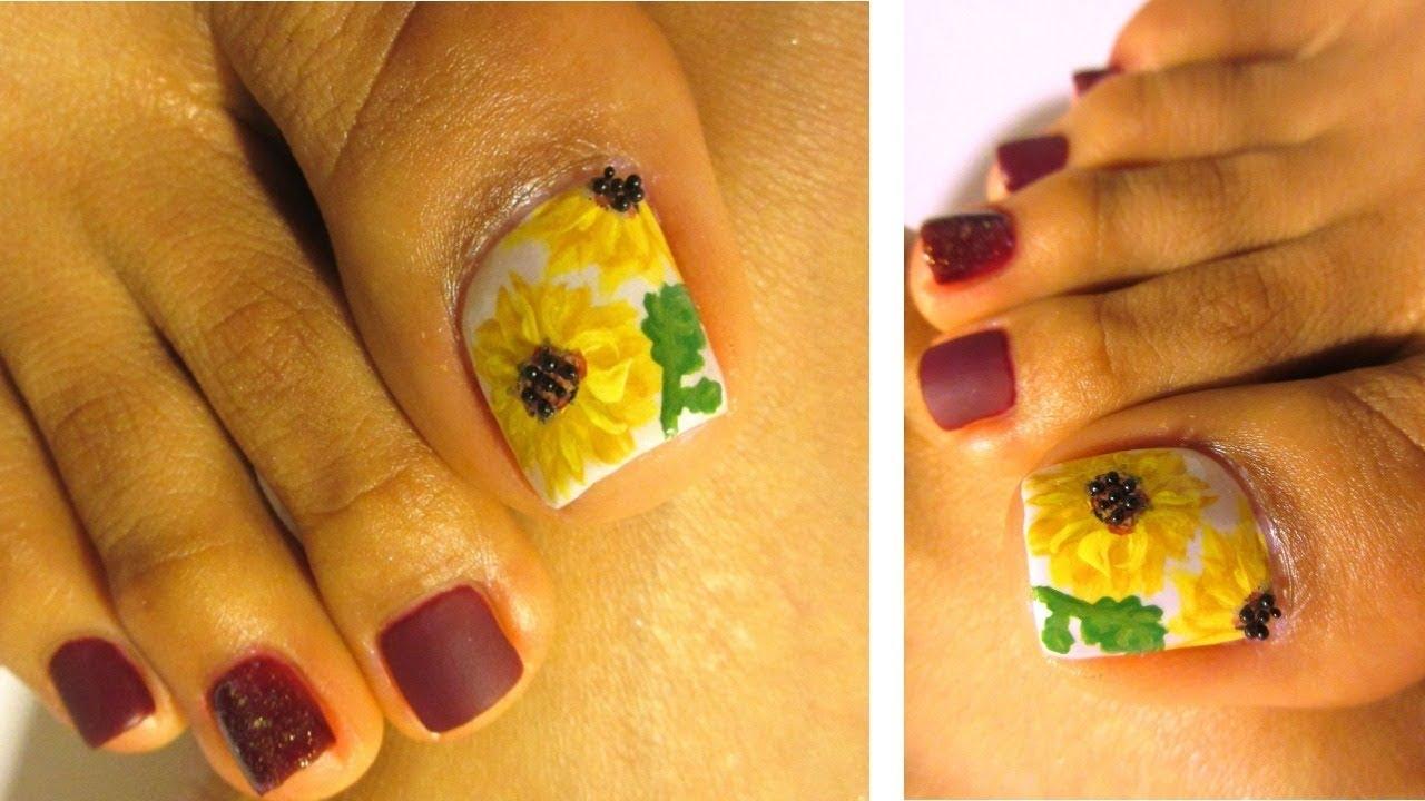 Pedicure Con Diseño De Girasolesflower Design Toenails Art Youtube