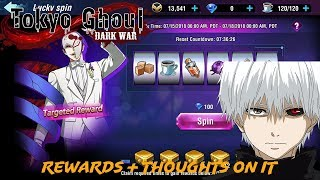 Tokyo Ghoul Dark War / WOUNDED KANEKI IN LUCKY SPIN REWARDS, + THOUGHTS