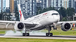 4K Close-up Arrival: China Eastern Airbus A350 FULL landing at taxi with Live ATC at Vancouver YVR
