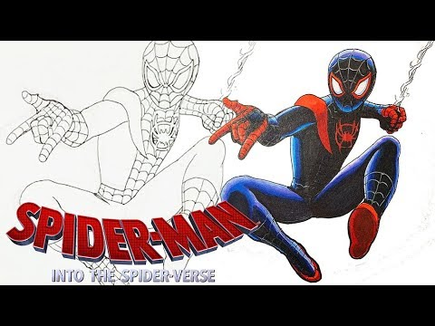 How To Draw Miles Morales Spiderman Into Spider Verse Coloring