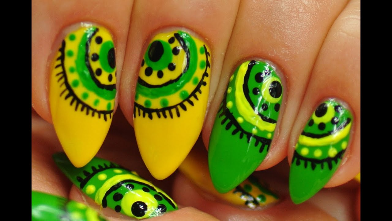 Nail Art. Green and Yellow Abstraction. - YouTube