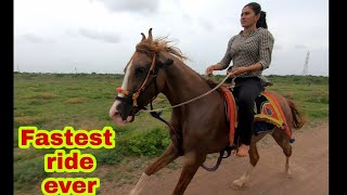 bharti ki fastest horse riding with shivani..