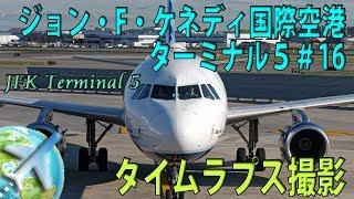 ジェットブルー航空エアバス A320 JFK国際空港 ターミナル5:スポット16に到着【FHD・タイムラプス】