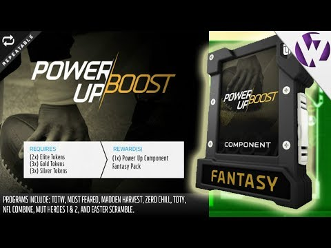 POWER UP BOOST FANTASY PACK OPENING! NEW TOKEN EXCHANGE FOR POWER UP SETS! - Madden 18 Pack Opening