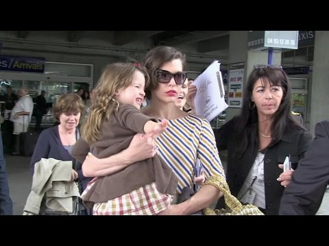 Milla Jovovich and her super cute daughter arriving in Cannes