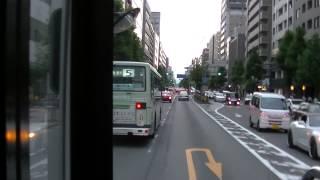 JR西日本バス 高雄・周山線前面展望 京都駅前~烏丸御池 三菱ふそうエアロスターツーステ 6612