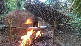 Primitive Fishing Trap Catching Fish For Dinner
