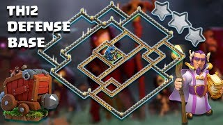 TH12 BEST STRONG DEFENSIVE AND ANTI 3 STAR BASE With Replay | TH12 Anti Everythings  |CLASH OF CLANS
