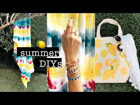 EASY SUMMER DIYs You NEED to TRY // Tie dye Beach Towel, Lemon Stamp Tote Bag & Friendship Bracelets