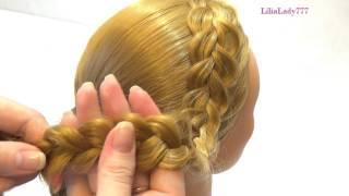 Прическа для девочек с плетением. Плетение косичек.  Girls hairstyle with braids