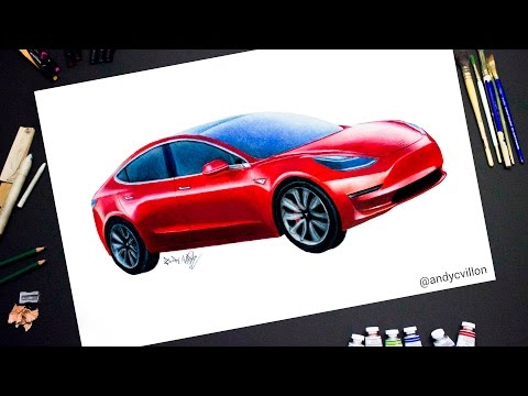 Drawing a Tesla Model 3 - realistic time lapse drawing/painting