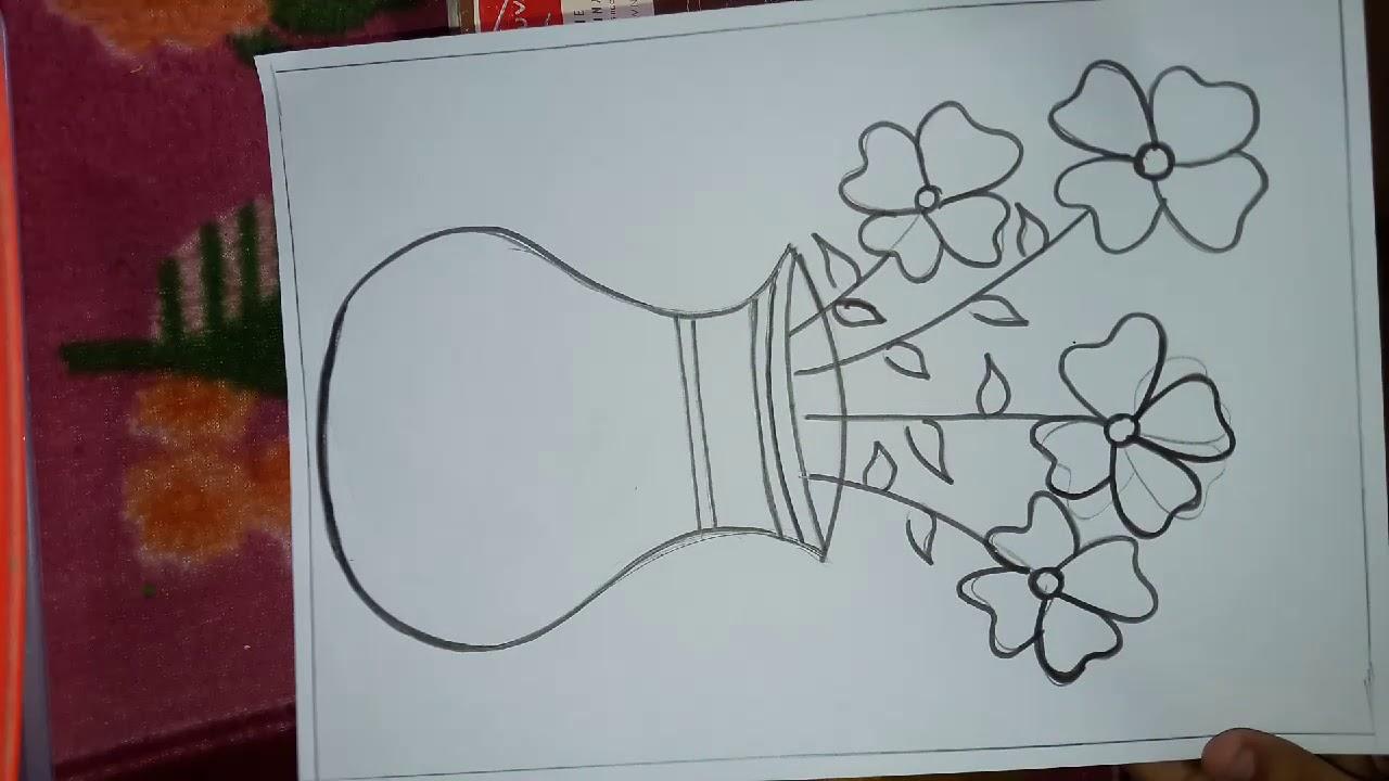 Easy Flower Pot Drawing Youtube