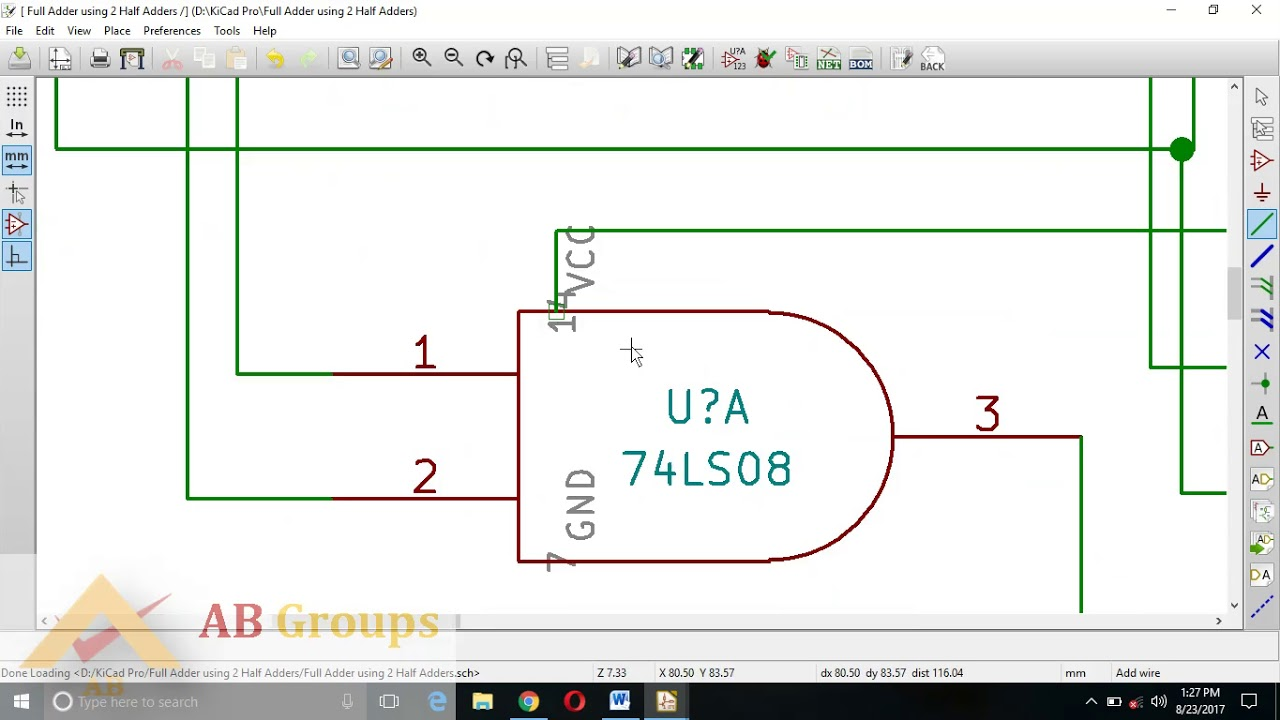 Kicad Pcb Design On Full Adder Using Two Half Adders Youtube And