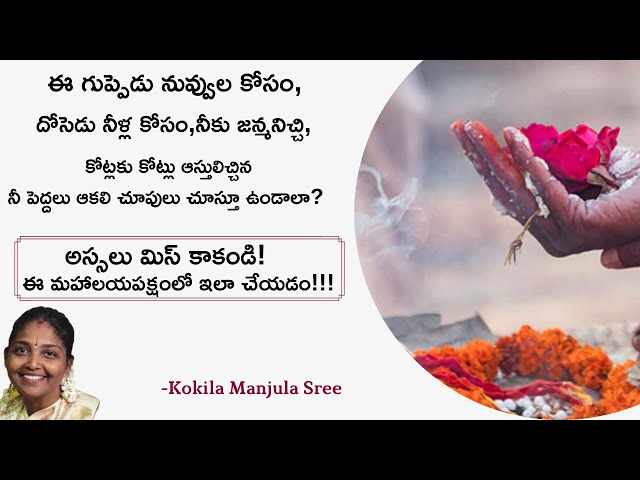 పితృపక్ష సమయంలో ఇలా చేయకపోతే ఎందుకు ఈ బ్రతుకు బ్రతికి ? | Kokila Manjula Sree #SreeSevaFoundation