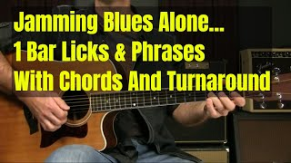 Acoustic Blues Guitar Lesson - 1 Bar Licks And Phrases With Chords For Beginners Or Intermediates