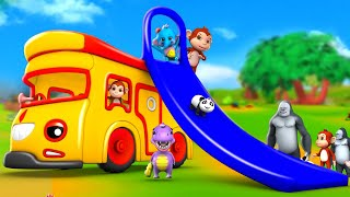 Funny Elephant & Monkey Ride-on Bus Slider with Forest Animals in Forest | 3D Animals Comedy Videos